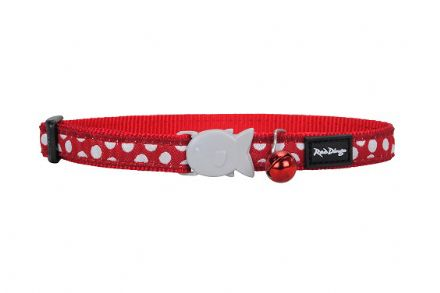 Red Dingo Cat collar White Spots on Red